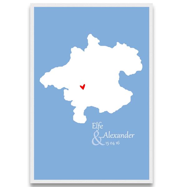 typisch oberösterreichische Geschenke Landkarte Hochzeitsgeschenk