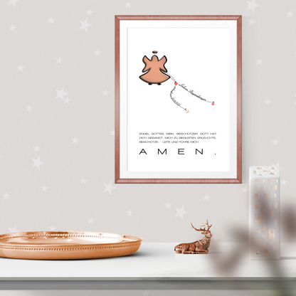 Schutzengel Kinderzimmer Taufgeschenk Wandbild Babyzimmer personalisiert